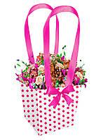 Бумажная сумка-трапеция для букетов и горшечных цветов в красный горошек