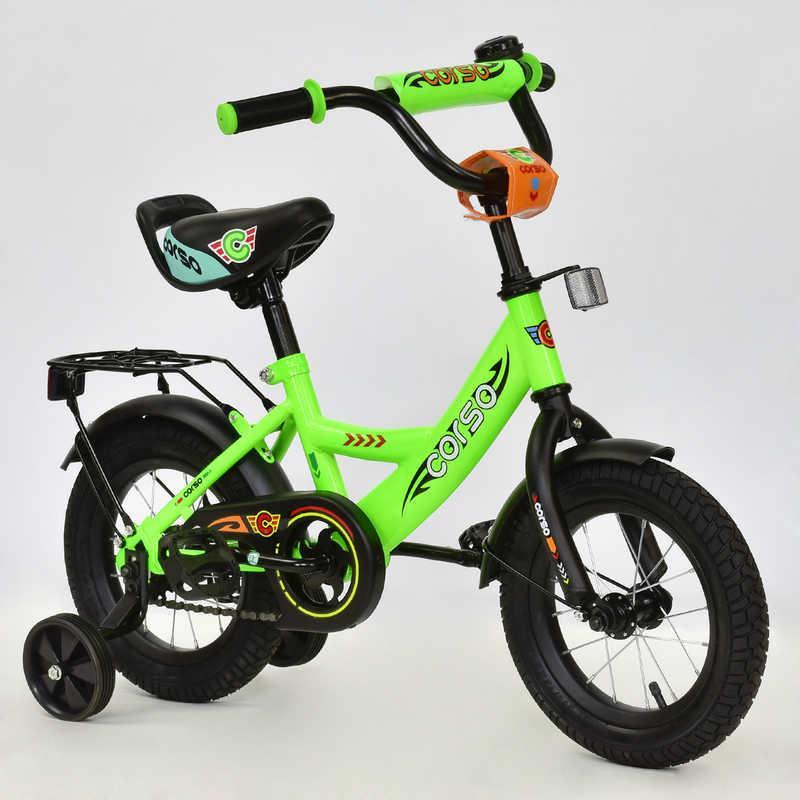 """Велосипед 12"""" дюймов 2-х колёсный С12060 """"CORSO"""" (1) САЛАТОВЫЙ, звонок, сидение с ручкой, доп. колеса, СОБРАН"""