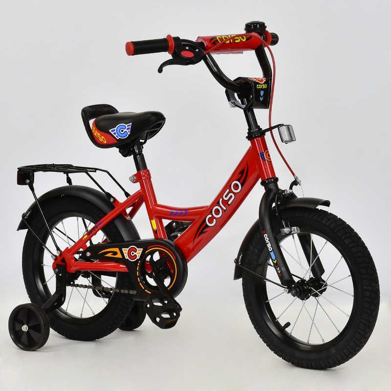 """Велосипед 14"""" дюймов 2-х колёсный С14450 """"CORSO"""" (1) КРАСНЫЙ, ручной тормоз, звонок, доп. колеса, СОБРАН 75%"""