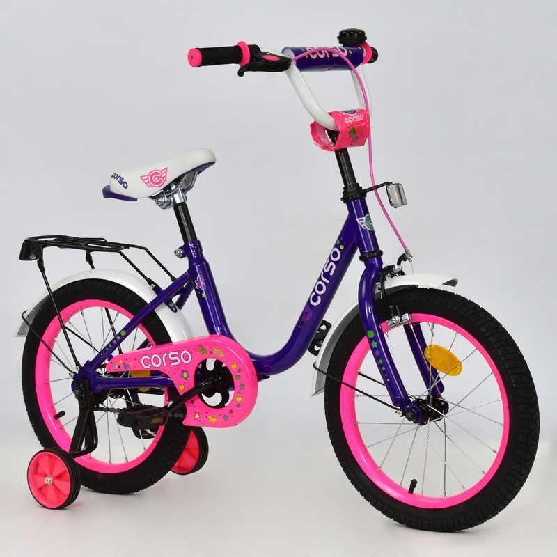 """Велосипед 16"""" дюймов 2-х колёсный С16100 """"CORSO"""" (1) ФИОЛЕТОВЫЙ, ручн тормоз, звонок, доп. колеса, СОБРАН 75%"""