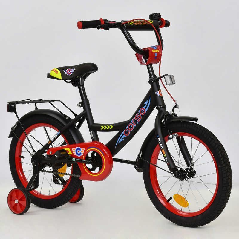 """Велосипед 16"""" дюймов 2-х колёсный С16210 """"CORSO"""" (1) ЧЕРНЫЙ,  ручн тормоз, звонок, доп. колеса, СОБРАН НА 75%"""