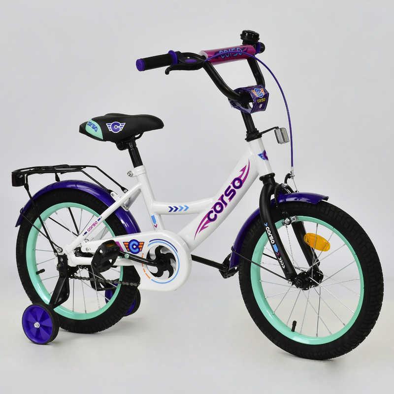 """Велосипед 16"""" дюймов 2-х колёсный С16430 """"CORSO"""" (1) БЕЛЫЙ,  ручной тормоз, звонок, доп. колеса, СОБРАН"""
