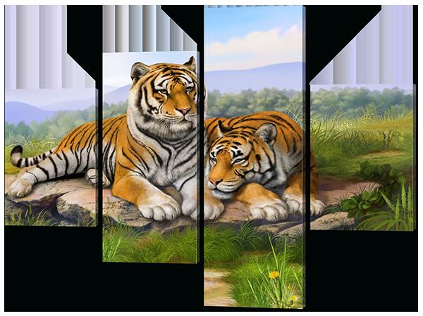Картина модульная Тигры на траве