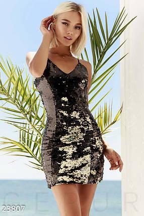 Коктейльное платье мини по фигуре без рукав открытая спина пайетки золотисто-черное, фото 2