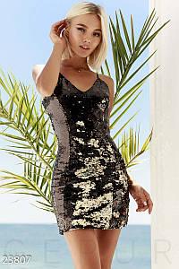 Коктейльное платье мини по фигуре без рукав открытая спина пайетки золотисто-черное