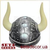 """Шлем """"Викинг"""" с белыми рогами"""
