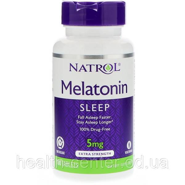 Мелатонин медленное высвобождение 5 мг 100 таб  нормализация сна Natrol USA