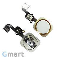 Кнопка HOME iPhone 6S белая/золотистая (со шлейфом)