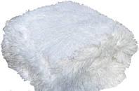 Белый плед с  длинным  ворсом евро размер 220*240