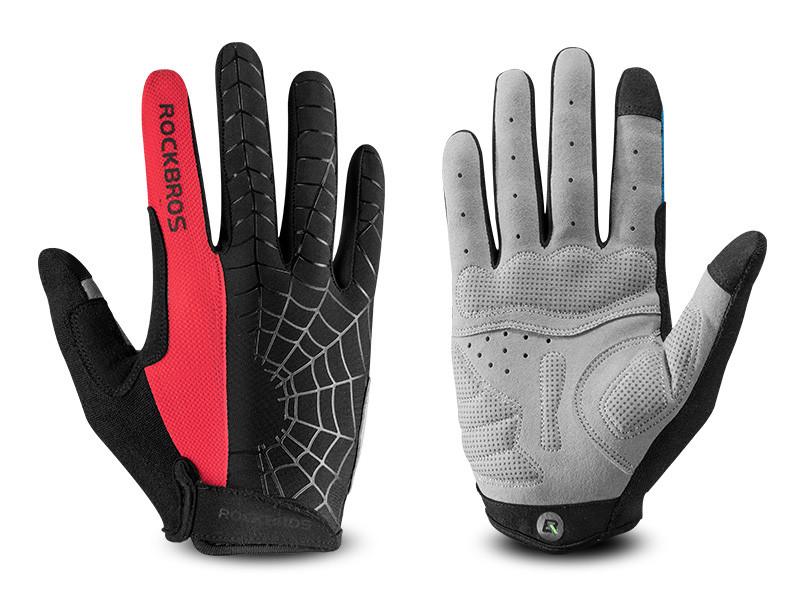 Перчатки RockBros Spyder закрытые, черно-красные, XL