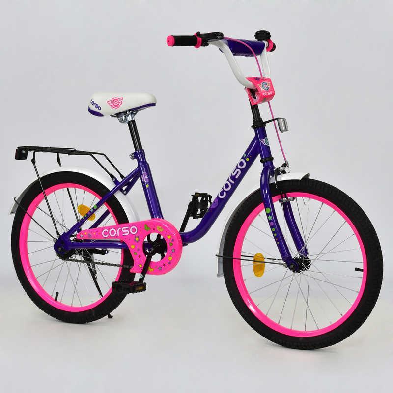 """Велосипед 20"""" дюймов 2-х колёсный С20202 """"CORSO"""" (1) ФИОЛЕТОВЫЙ, руч тормоз, звоночек, сидение, СОБРАН НА 75%"""