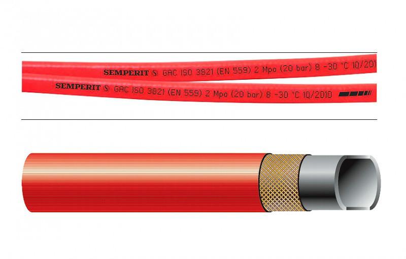 """Рукав для подачи ацетилена, для газовой сварки GAC 9x3.0mm 20bar """"Semperit"""""""