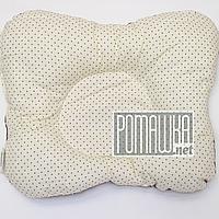 Подушка двухсторонняя ортопедическая для новорожденных верх 100% хлопок, 30х25 см 4060 Бежевый