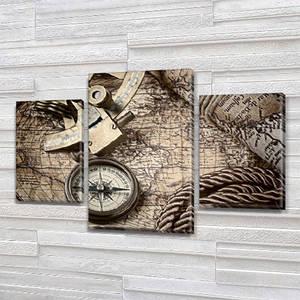 Модульная картина Карта мира в спальню купить на Холсте син., 45х70 см, (30x20-2/45x25)