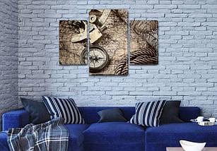 Модульные картины в спальню купить на Холсте син., 45х70 см, (30x20-2/45x25), фото 3