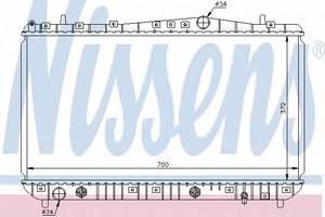 Радиатор охлаждения Лачетти, Нубира AT 1.6-1.8 , NisSens, 61634