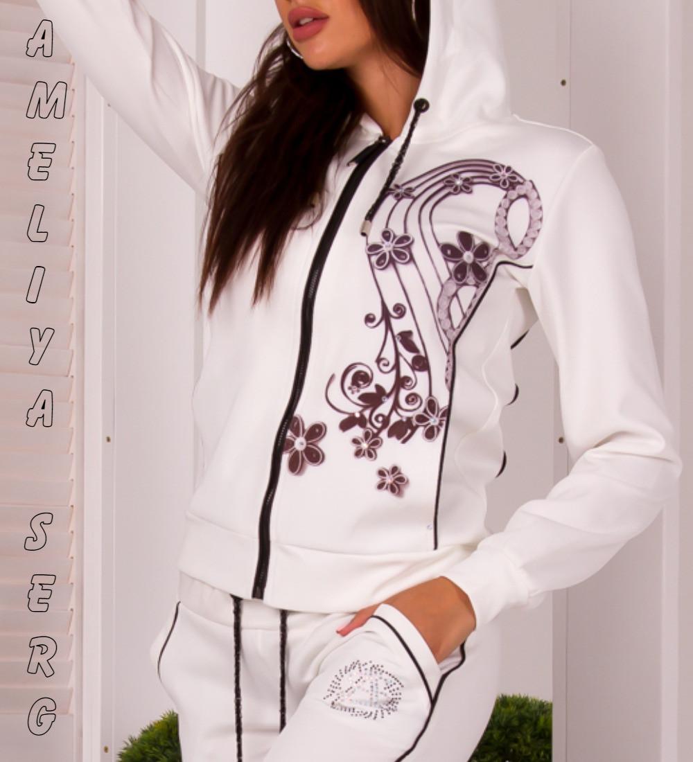 2e16a663df7089 Стильный прогулочный спортивный костюм женский Турция на молнии -  Оптово-розничный интернет-магазин женской