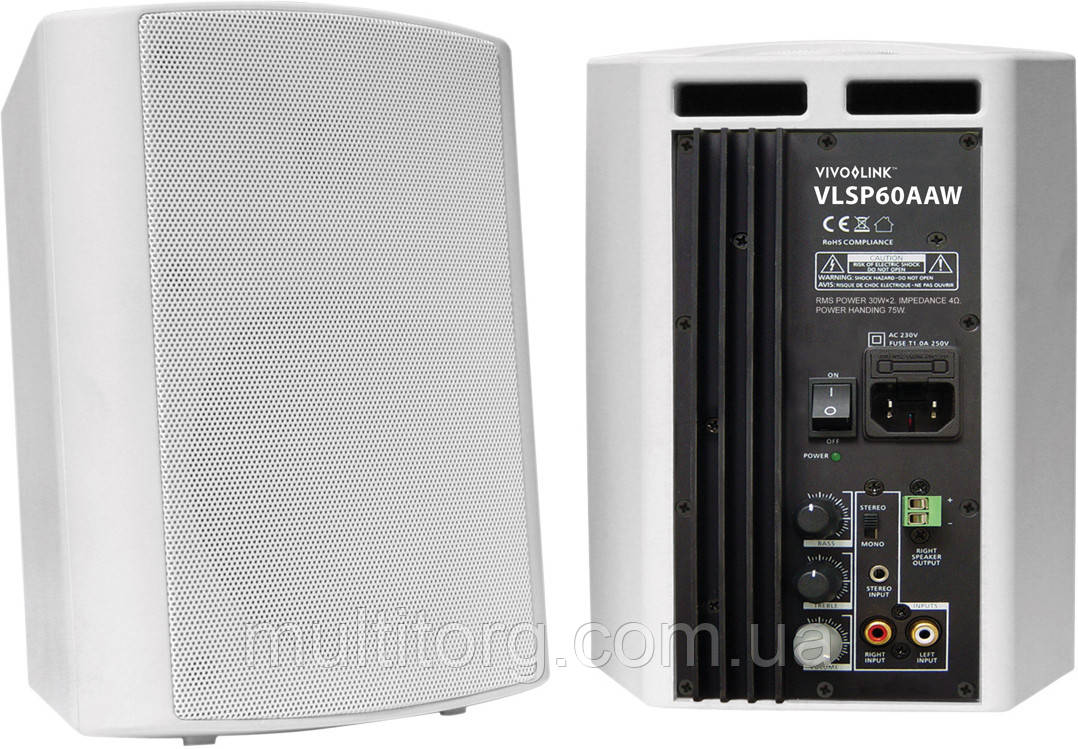 Активные акустические колонки VivoLink VLSP60AAW (2 x 30Вт) влагозащитные, настенные