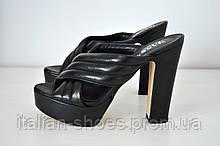 Черные босоножки сабо на высоком толстом каблуке Hassan Roma к.-700