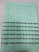 Велюровое полотенце банное Ромбик, размер 140*70 см, зеленое (в наличии 1шт)