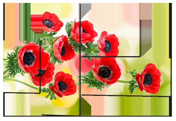 Модульная картина Маки красные акварель 131* 93,5 см,
