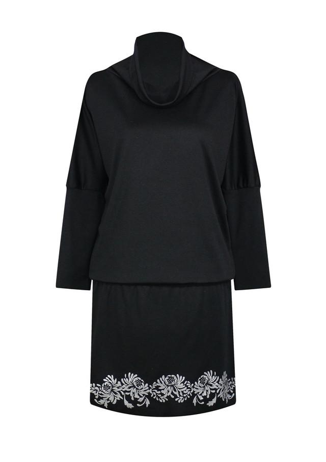 Черное платье летучая мышь с воротом Хризантемы - фото teens.ua