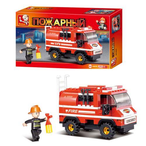 Конструктор SLUBAN M38-В0276  пожарная машина, фигурка, 133 дет, в кор