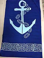 Пляжные полотенца из микрофибры Якорь темно-синие, размер 140*70 см