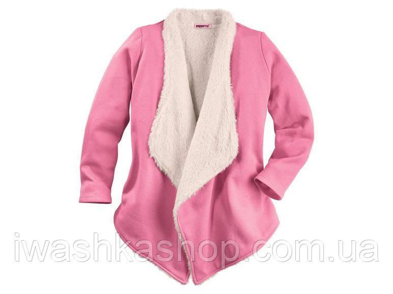 Розовый кардиган с мехом для девочки 10 - 12 лет, размер 146 - 152,  Pepperts!