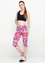 Лосины, Капри, Бриджи для фитнеса с камуфляжным принтом(розовый, малиновый)