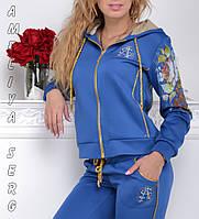 Стильный спортивный костюм женский Турция однотоный на змейке синий , фото 1
