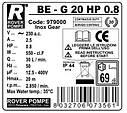 Шестеренчатый насос Rover BE-G 20 HP 0.6 (900л/час), фото 3