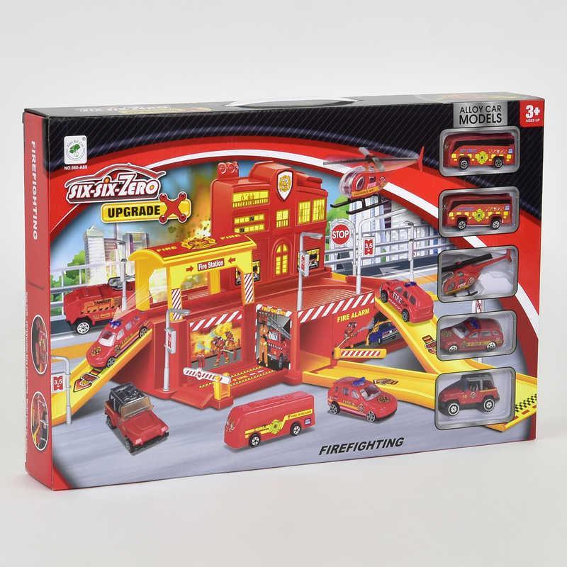 Гараж Пожарная станция 660 А-69 (24), 4 машинки, вертолет, в коробке