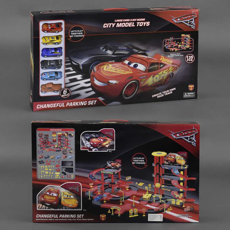 """Гараж 6889-241 """"Тачки"""" (12) 6 машинок, 135 деталей, в коробке"""