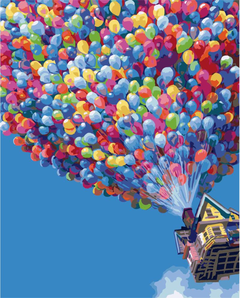 Картина по номерам Полет на воздушных шариках, 40x50 см., Brushme