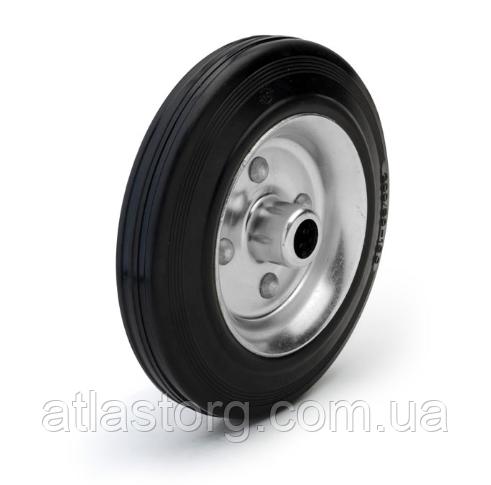 Колеса металеві з литою чорною гумою, діаметр 200 мм, без кронштейна