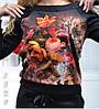 Гламурный спортивный костюм женский Турция с цветочным принтом чёрный норма