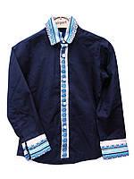Детская рубаша-вышиванка на мальчика в темно-синем цвете., фото 1