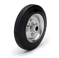 Колеса металлические с литой черной резиной, диаметр 80 мм, без кронштейна. Серия 10