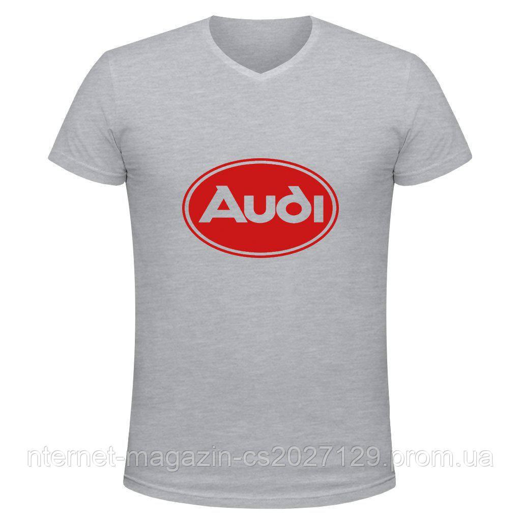 Футболка с печатью логотипа Audi V-вырез