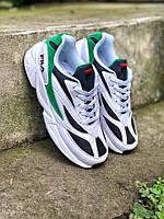 Кроссовки мужские в стиле Fila Venom код товара Z-1520. Белые с черным\зеленым