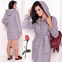 c6214b6d436 Женское демисезонное короткое пальто с капюшоном М 3299 Серый