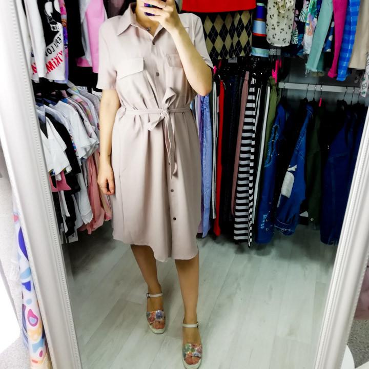 Платье-рубашка короткое с поясом бежевое 517-8070-1