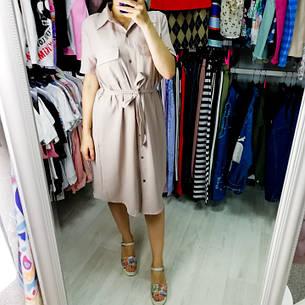 Платье-рубашка короткое с поясом бежевое 517-8070-1, фото 2