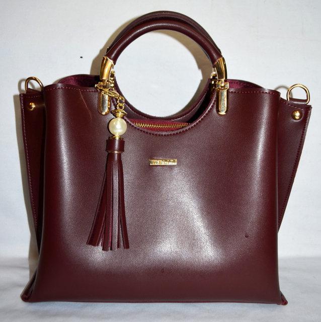 Женская бордовая сумка с кисточкой  B Elit