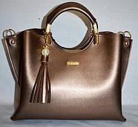 Женская бронзовая сумка с кисточкой  B Elit, фото 1