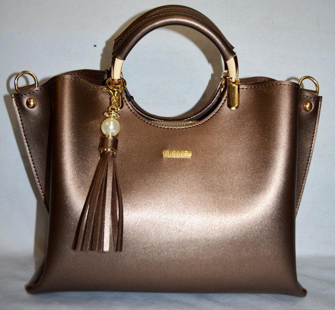 Женская бронзовая сумка с кисточкой  B Elit
