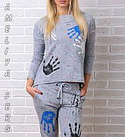 Брендовый гламурный спортивный костюм Турция S M L XL XXL серый, фото 1
