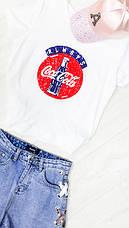 Шорты джинсовые шнуровка ленточка - 518-3021, фото 3