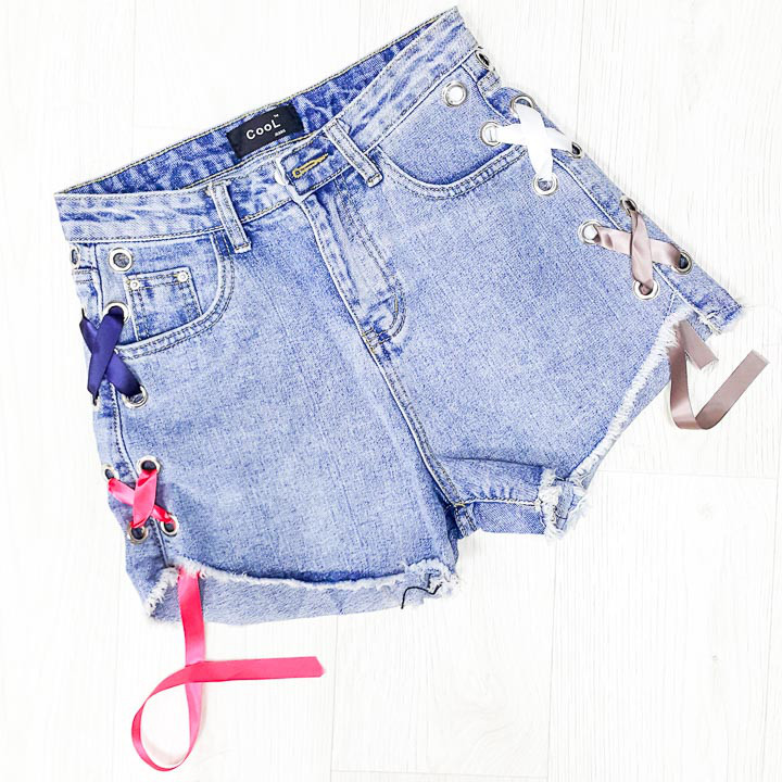 Шорты джинсовые шнуровка ленточка - 518-3021